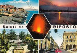 CARTOLINA  SALUTI DA RIPOSTO,CATANIA,SICILIA,BELLA ITALIA,MARE,SOLE,ESTATE,VACANZA,BARCHE A VELA,LIDO,VIAGGIATA 1975 - Catania