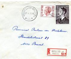 1981 Sterstempel Op R-enveloppe Van BRUSSEL 50 Naar Brussel Met R-sticker Brussel 13 - Zegels Boudewijn - Lettres & Documents