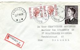 1981 Sterstempel Op R-enveloppe Van BOOISCHOT 2  Naar Brussel Met R-sticker Booischot 2 - Zegels Boudewijn - Lettres & Documents