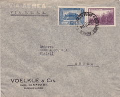 ARGENTINA CORREO AEREO VIA B.S.A.A., ENVELOPPE CIRCULEE PAR AVION ANNEE 1946, BUENOS AIRES A THALWIL, SUISSE.- LILHU - Poste Aérienne