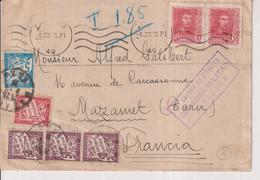 CENSURA MILITAR  ZARAGOZA 5 CUERPO DE EJERCITO  AMAZANNET TARN FRANCE 1938 CHIFFRE TAXE Guerra Civil Española ESPAÑA - 1931-50 Covers
