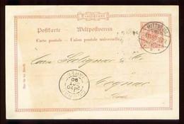 1890 - Entier POSTKARTE 10 Pf. Rouge - De MITTWEIDA Pour COGNAC (FRANCE) - Ganzsachen