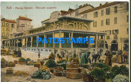 164553 ITALY ASTI SQUARE AND MARKET DISCOVERED POSTAL POSTCARD - Zonder Classificatie
