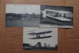 WILBUR WRIGHT Lot De 3 CPA  Camp D AUVOURS Le Mans 1908 Aéroplane De W WRIGHT - Aerodromi