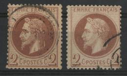 N° 26 A + N° 26 B 2 Ct Type I Et II Cote 105 € Oblitérés , Qualité TB. - 1863-1870 Napoléon III Lauré