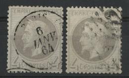 N° 27 A + N° 27 B  Cote 180 € Types I Et II Oblitérés , Qualité TB. - 1863-1870 Napoléon III Lauré