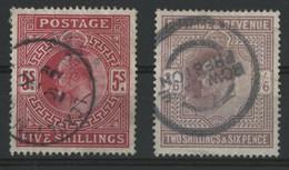 """N° 118 + 119 """"Edward VII"""" Cote 330 € Oblitérés (Voir Description) - Used Stamps"""
