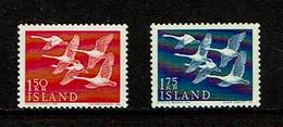 Iceland 1956 Sc # 298 / 299  MNH**  Birds - Oiseaux    Whooper Swans - Swans