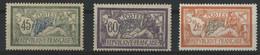N° 143 à 145 Type Merson Cote 91 € Neuf * (MH) (différentes Traces De Plis) - 1900-27 Merson