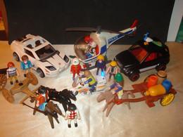 PLAYMOBIL Lot 1 Avec Voitures, Hélicoptère, Moto, Personnages, Chevaux Etc.... - Playmobil