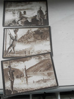 Lot 3 Cartes La Garde Au Rhin Tirailleur Algerien Chasseur à Pied Genie  Le Lot Peut Etre Divisé écrites 1925 - Uniformes
