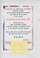"""Faire-part De Naissance, Antoine 30 Décembre 2001 """"petit Furet, Maternité  Armentieres.."""" Carte Double - Nacimientos"""