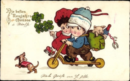 CPA Glückwunsch Neujahr, Kinder Auf Roller Und Rollschuhen, Kleeblätter, Schwein, Dackel - Neujahr
