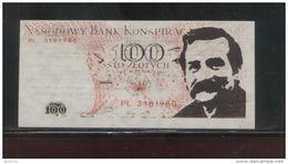 POLAND SOLIDARNOSC SOLIDARITY 1984 NATIONAL CONSPIRANCY BANK 100ZL LECH WALESA NOBEL PRIZE WINNER BANK NOTE - Polonia