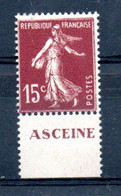 V1-21  Timbre Seul (haut Ou Bas) Issu Du Carnet O. Rolland N° 189-C2 ** Pub  Asceine  à10 % De La Côte. - Definitives