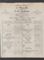 Marseille (13 Bouches Du Rhône) Horaire Des Départs De Bateaux  J A LACHAISE Août 1860  (PPP30194) - Europe