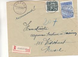 Belgique - Lettre Recom De 1949 - Oblit Dudzele - Exp Vers Brussel - Industrie - Tissage - Broderies - - Cartas
