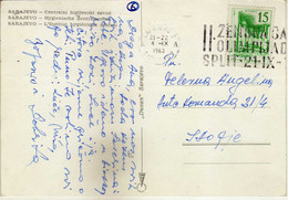 "Yugoslavia 1963 Sarajevo Postcard - Slogan / Flam ,,II Zenska Sahovska Olimpijada Split 21.IX - 10 X 1963 ""Women's Chess - Lettres & Documents"