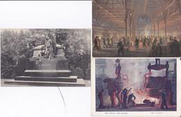 DC5468 - Ak Industrialisierung 3 Karten Lot Fabrikhallen Fried. Krupp A.G. Essen Martinwerk Denkmal A. Krupp Grab - Geschichte