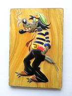 "Russia 1970s /Rarity/ Wall Painted Plaster / Wolf Sailor. Cartoon  ""Nu Pogodi !"" / Artist Unknown / Very Small Edition - Acrilici"
