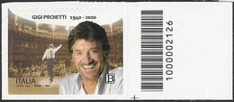 Italia / Italien 2021 Gigi Proietti Con Codice A Barre / Mit Strichkode - Bar Codes