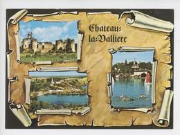 Château-la-Vallière (Indre & Loire) Ruines Du Château De Vaujours, Vue Aérienne, Le Lac (cp N°3193 Multivues Parchemin) - Autres Communes