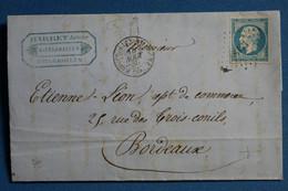 W6  FRANCE   BELLE LETTRE  1856   VOYAGEE FOUGEROLLES POUR BORDEAUX+ TEMOIGNAGE+  AFFRANCHI. INTERESSANT - 1853-1860 Napoléon III.