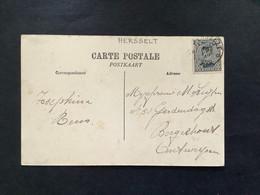 POSTKAART Uitgifte Albert I - 3c - Gestempeld RELAIS HERSSELT - 1915-1920 Albert I