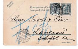Austria Czechia, Uprated Postal Stationery Postcard Korespondenčni Listek Posted 1905 Pardubice To Langnau B210710 - Interi Postali