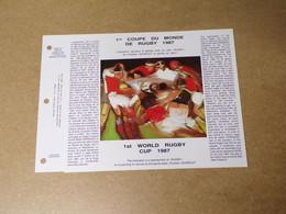 Feuillet Double 1er Jour - La SODOP - 1ère Coupe Du Monde Rugby 1987 - 1980-1989