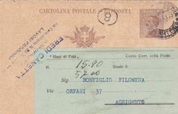 REGNO - MILANO  - EREDICANETTA - LAVORI FEMMINILI - INTERO POSTALE - RISPOSTA C. 30 - VIAGGIATO PER AGRIGENTO - Stamped Stationery