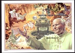 REPUBLIQUE  DU NIGER - IMPERFORATE STAMP SHEET -  POPE JOHN PAUL II - BLOCK MINT NOT HINGED SOUVENIR, J - Pausen