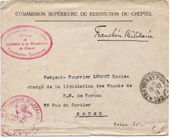 Lettre 'Commission Supérieure De Restitution Du Cheptel' - CaD Trésor Et Postes N° 180 De 1919 - Etat B/TB - Oorlog 1914-18