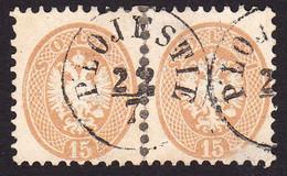 AUSTRIA / ÖSTERREICH - LEVANT - 1864 ( 2 X 15 SLD - Mi. V 23 ) - STEMPEL : PLOJESTIE [ PLOIESTI - ROMANIA ] (ag602) - Levant Autrichien