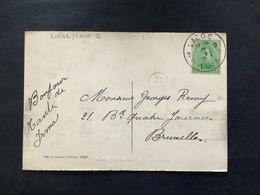POSTKAART Uitgifte Albert I - 5c - Gestempeld RELAIS LIEGE 2 LUIK 2 - 1915-1920 Albert I