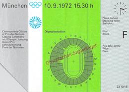 Germany Ticket 1972 München Olympic Games - Closing Ceremony Olympiastadion (T21-44) - Estate 1972: Monaco
