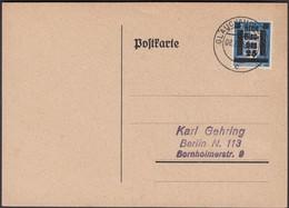 Germany - Local Issue / Lokalausgabe, Glauchau (Sachen) MiNr. 10 EF. Glauchau 8.8.1945 - Berlin. - American,British And Russian Zone