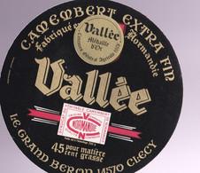 ÉTIQUETTE DE FROMAGE -   CAMEMBERT  -VALLÉE - 45% - EXTRA FIN - MÉDAILLE D'OR - Cheese