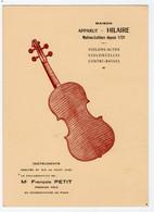 PUBLICITE. MIRECOURT (88) ATELIERS De LUTHERIE. MAISON APPARUT-HILAIRE. MAITRES LUTHIERS DEPUIS 1721. - Altri