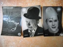 3 Photos Cirque Medrano . Pipo, Rhum, Les Clerans . Chesterfollies 44 . Photos B.M. BERNAND . 5 Scans . - Métiers