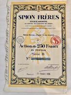 S.A.  SIMON  FRÈRES  ------------  Action  De  250 Frs - Non Classificati