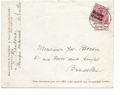 SH 0961. Enveloppe 17 Avec TP Oc 3 Surcollé NIVELLES 1/B  25.II.15 Vers Bruxelles. TB - Army: German