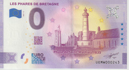 Billet Touristique 0 Euro Souvenir France 29 Les Phares De Bretagne 2021-11 N°UEMW000243 - Essais Privés / Non-officiels