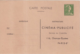 "FRANCE : ENTIER POSTAL . 12 F . TYPE MULLER . CP TSC . "" CINEMA PUBLICITE PARIS "" . 1956 . - Standard Postcards & Stamped On Demand (before 1995)"