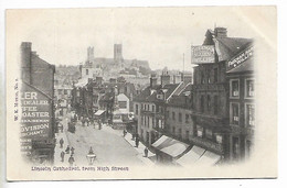 Early Postcard, Lincoln High Street. People, Road, Shops, Freeman Hardy Willis. - Lincoln