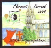 BLOC CNEP 40 SALON PHILA PRINTEMPS 2004 CLERMONT FERRAND ECUSSON CATHEDRALE MONGOLFIERES - CNEP