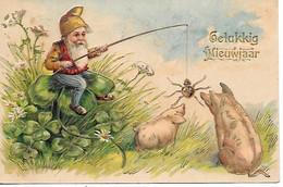 Zwerg, Kobold, Lutin, Gnome, Gnomo, Gnom, Angling, Spider, Spinne, Araignée, Pig, Porc, Schwein, Cochon, Maiale, Clover - Nouvel An