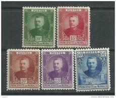 Monaco N° 65 / 69 XX  Prince Louis II, Les 5  Valeurs Sans Charnière,  TB - Unused Stamps
