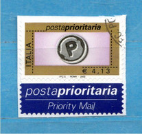 Italia - 2002 - Posta Prioritaria Val. 4,13  Cat. N° 2638   Usato. Difficile A Trovare. - 2001-10: Oblitérés