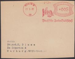 Germany - Freistempel, 'PREUSSISCHE ZENTRALSTADTSCHAFT'. BERLIN W-10, 1931. Front Cover Briefstück!. - Lettres & Documents